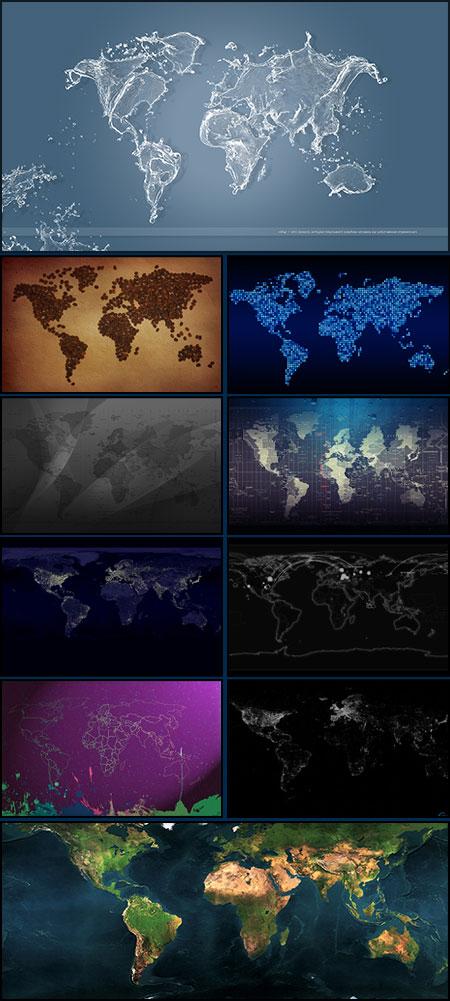 Карты мира - фоны для фотошопа