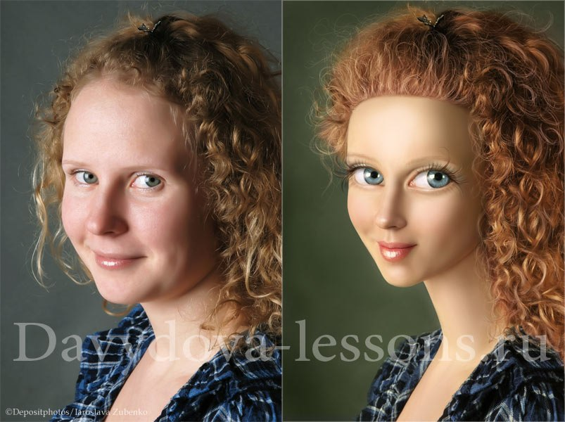 Как сделать в фотошопе мультяшное лицо
