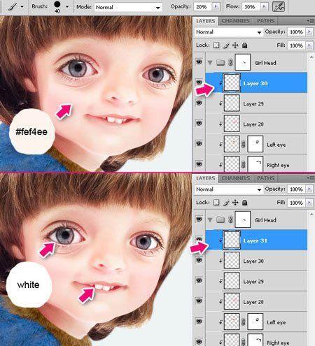 Как сделать лицо белым фотошоп