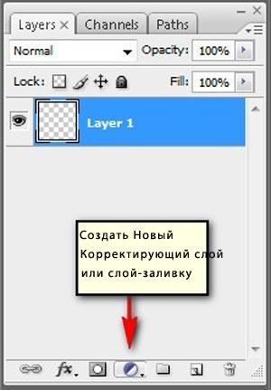 Как создать новый корректирующий слой или слой-заливку