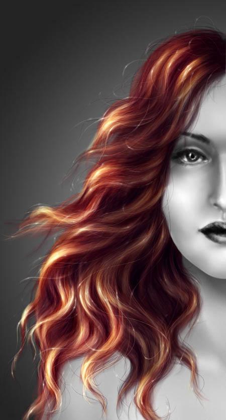 рисование волос в фотошопе