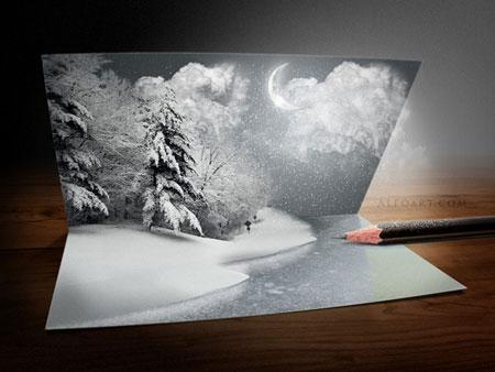 Рождество в фотошоп, открытки в фотошоп, уроки фотошоп